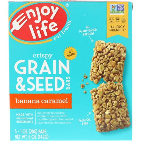 Enjoy Life Foods, Crispy Grain & Seed Bars, Banana Caramel, 5 Bars, 1 oz (28 g) Each Review