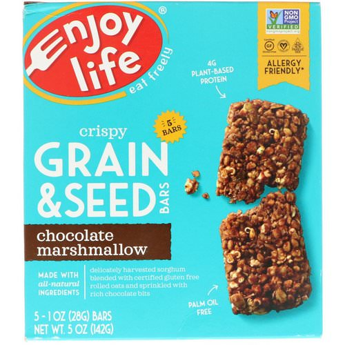 Enjoy Life Foods, Crispy Grain & Seed Bars, Chocolate Marshmallow, 5 Bars, 1 oz (28 g) Each Review