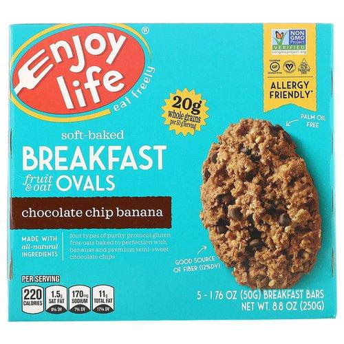 Enjoy Life Foods, Soft-Baked Breakfast Fruit & Oat Ovals, Chocolate Chip Banana, 5 Bars, 1.76 oz (50 g) Each Review