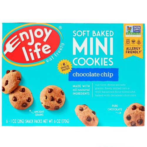 Enjoy Life Foods, Soft Baked Mini Cookies, Chocolate Chip, 6 Snack Packs, 1 oz (28 g) Each Review