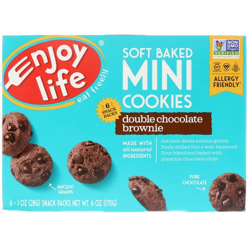 Enjoy Life Foods, Soft Baked Mini Cookies, Double Chocolate Brownie, 6 Snack Packs, 1 oz (28 g) Each Review