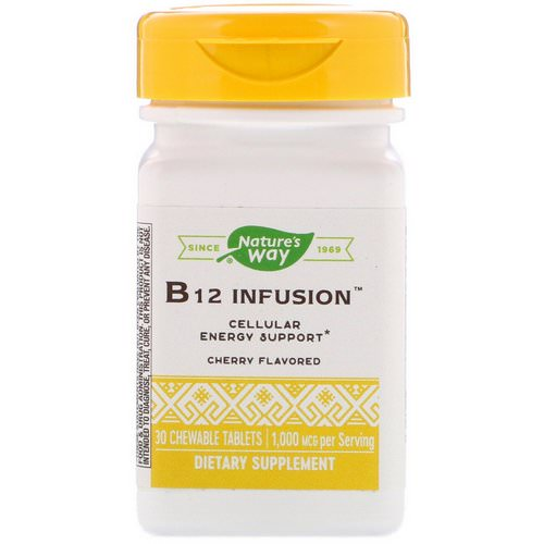 Nature's Way, B12 Infusion, Cherry Flavor, 1,000 mcg, 30 Chewable Tablets Review