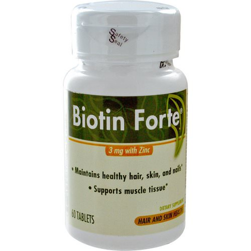 Enzymatic Therapy, Biotin Forte, 3 mg with Zinc, 60 Tablets Review