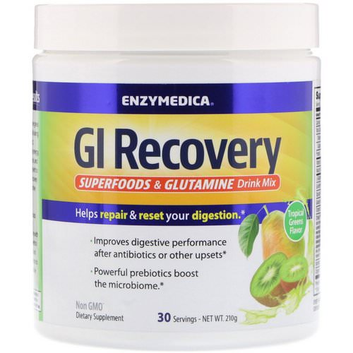 Enzymedica, GI Recovery Superfoods & Glutamine Drink Mix, Tropical Greens Flavor, 210 g Review