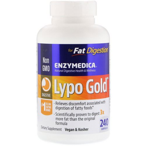 Enzymedica, Lypo Gold, For Fat Digestion, 240 Capsules Review