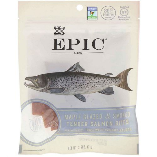 Epic Bar, Bites, Maple Glazed & Smoked, Tender Salmon, 2.5 oz (71 g) Review