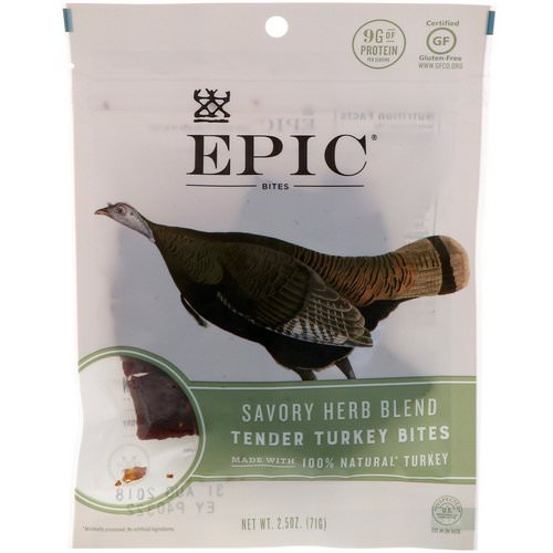 Epic Bar, Bites, Tender Turkey, Savory Herb Blend, 2.5 oz (71 g) Review