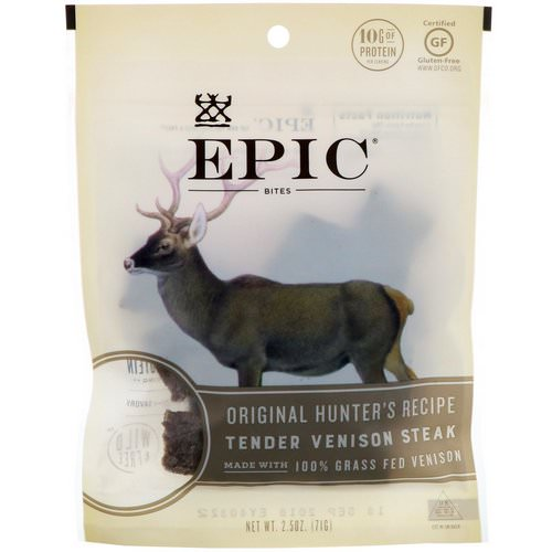 Epic Bar, Bites, Tender Venison Steak, Original Hunter's Recipe, 2.5 oz (71 g) Review