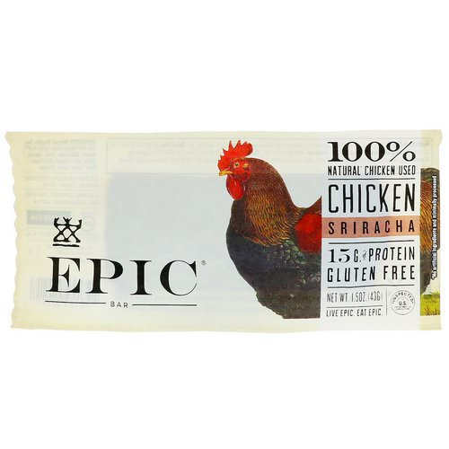 Epic Bar, Chicken Sriracha Bar, 12 Bars, 1.5 oz (43 g) Each Review