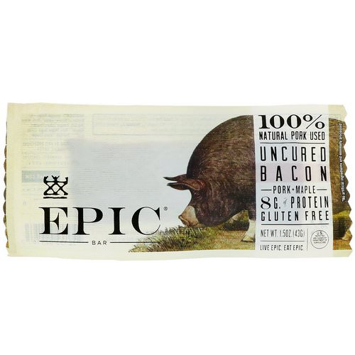 Epic Bar, Uncured Bacon, Pork + Maple Bar, 12 Bars, 1.5 oz (43 g) Each Review