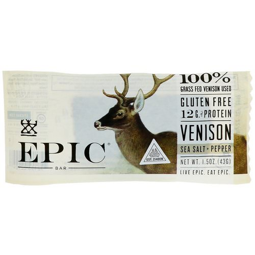 Epic Bar, Venison Sea Salt + Pepper Bar, 12 Bars, 1.5 oz (43 g) Each Review