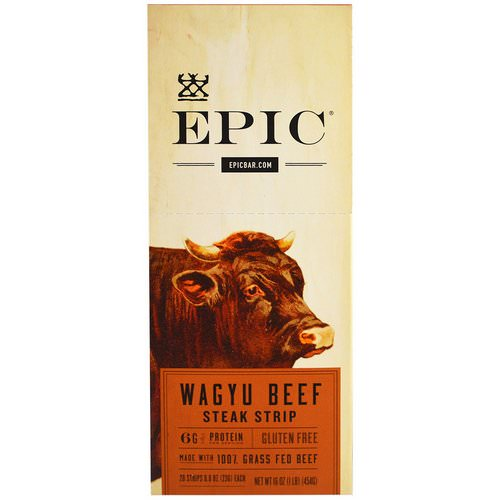 Epic Bar, Wagyu Beef Steak Strip, 20 Strips, 0.8 oz (23 g) Each Review