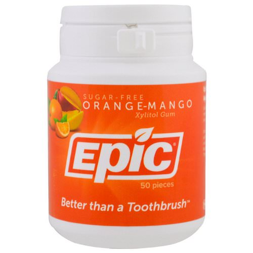 Epic Dental, Xylitol Gum, Sugar-Free, Orange-Mango, 50 Pieces Review