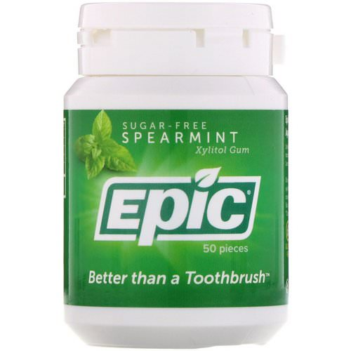 Epic Dental, Xylitol Gum, Sugar Free, Spearmint, 50 Pieces Review
