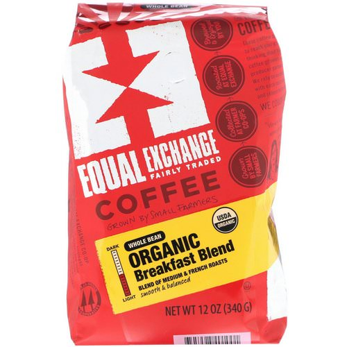 Equal Exchange, Organic, Coffee, Breakfast Blend, Whole Bean, 12 oz (340 g) Review