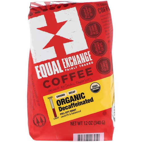 Equal Exchange, Organic, Coffee, Decaffeinated, Full City Roast, Ground, 12 oz (340 g) Review