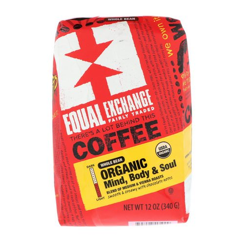 Equal Exchange, Organic, Coffee, Mind Body & Soul, Whole Bean, 12 oz (340 g) Review