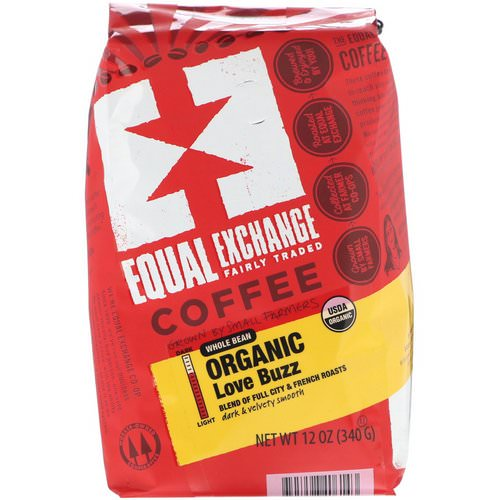 Equal Exchange, Organic Whole Bean Coffee, Love Buzz, 12 oz (340 g) Review