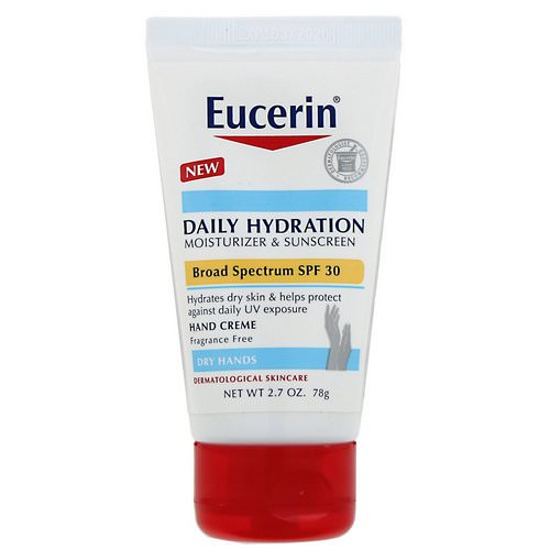 Eucerin, Daily Hydration Hand Creme, Moisturizer & Sunscreen, SPF 30, Fragrance Free, 2.7 oz (78 g) Review