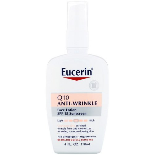 Eucerin, Q10 Anti-Wrinkle Sensitive Skin Lotion, SPF 15 Sunscreen, 4 fl oz (118 ml) Review