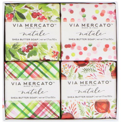 European Soaps, Via Mercato, Natale, Shea Butter Soaps Set, 4 Soaps, 50 g Each Review