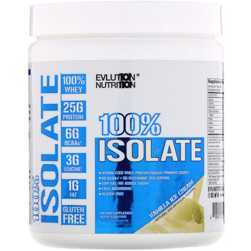 EVLution Nutrition, 100% Isolate, Vanilla Ice Cream, 0.33 lb (150 g) Review