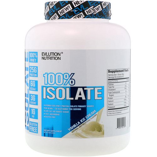 EVLution Nutrition, 100% Isolate, Vanilla Ice Cream, 4 lb (1814 g) Review