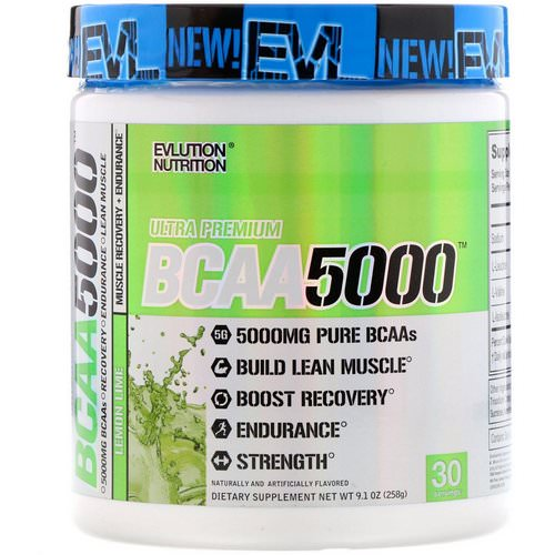 EVLution Nutrition, BCAA 5000, Lemon Lime, 9.1 oz (258 g) Review
