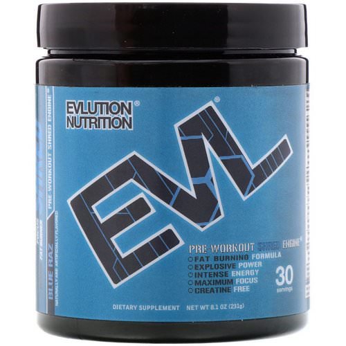EVLution Nutrition, ENGN Shred, Blue Raz Pre-Workout, 8.1 oz (231 g) Review