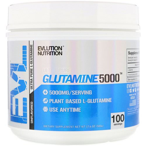 EVLution Nutrition, Glutamine 5000, Unflavored, 17.6 oz (500 g) Review