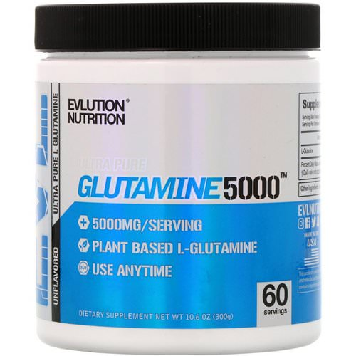 EVLution Nutrition, Glutamine5000, Unflavored, 5000 mg, 10.6 oz (300 g) Review