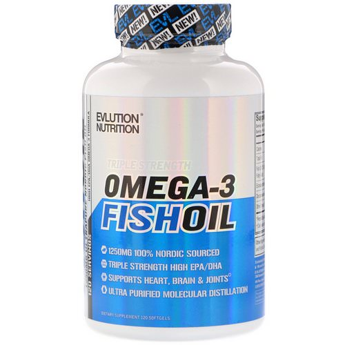 EVLution Nutrition, Omega-3 Fish Oil, Triple Strength, 120 Softgels Review