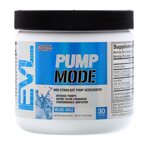 EVLution Nutrition, PumpMode, Non-Stimulant Pump Accelerator, Blue Raz, 5.9 oz (168 g) Review