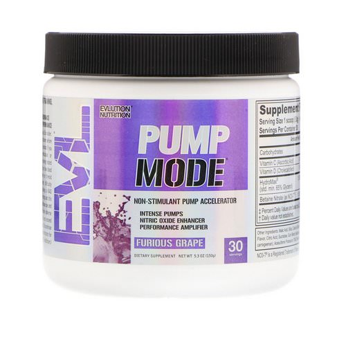 EVLution Nutrition, PumpMode, Non-Stimulant Pump Accelerator, Furious Grape, 5.3 oz (150 g) Review