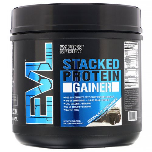 EVLution Nutrition, Stacked Protein Gainer, Chocolate Decadence, 11.6 oz (328 g) Review