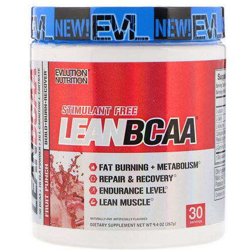 EVLution Nutrition, Stimulant Free LeanBCAA, Fruit Punch, 9.4 oz (267 g) Review