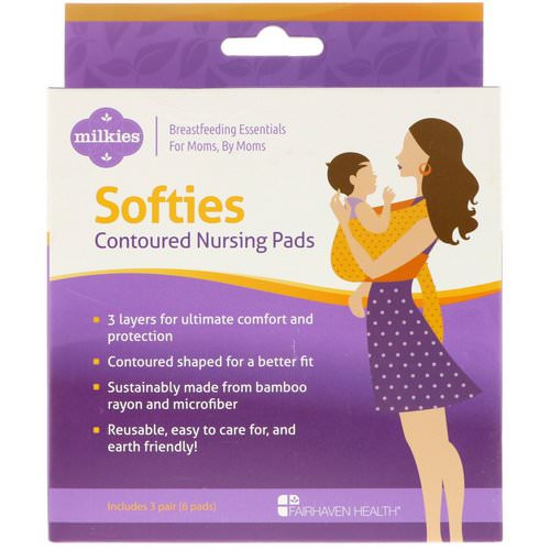 Fairhaven Health, Milkies, Softies, Contoured Reusable Nursing Pads, 3 Pairs (6 Pads) Review