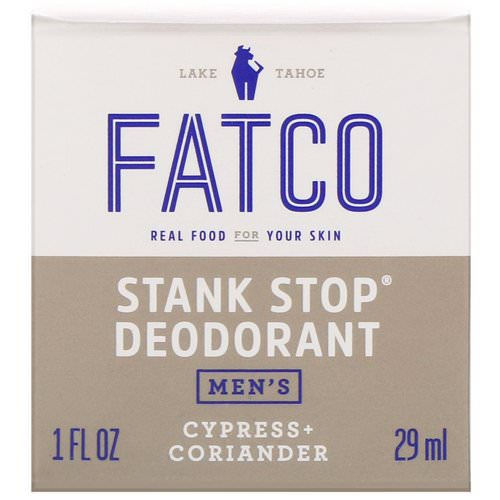 Fatco, Stank Stop Natural Deodorant, Men's, Cypress + Coriander, 1 fl oz (29 ml) Review