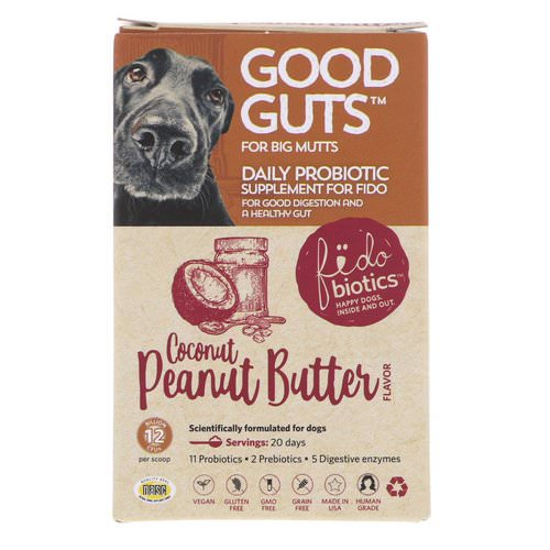 Fidobiotics, Good Guts, Daily Probiotic, For Big Mutts, Coconut Peanut Butter, 12 Billion CFUs, 1.4 oz (40 g) Review
