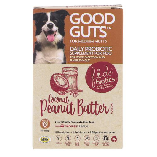 Fidobiotics, Good Guts, Daily Probiotic, For Medium Mutts, Coconut Peanut Butter, 6 Billion CFU, 1 oz (30 g) Review
