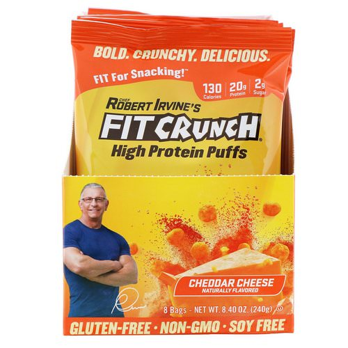 FITCRUNCH, High Protein Puffs, Cheddar Cheese, 8 Bags, 1.05 oz (30 g) Each Review