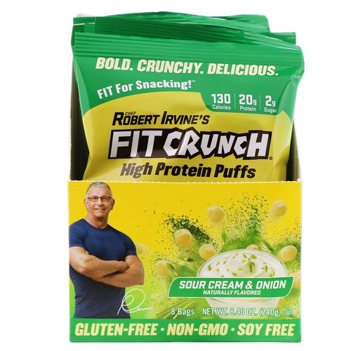 FITCRUNCH, High Protein Puffs, Sour Cream & Onion, 8 Bags, 1.05 oz (30 g) Each Review