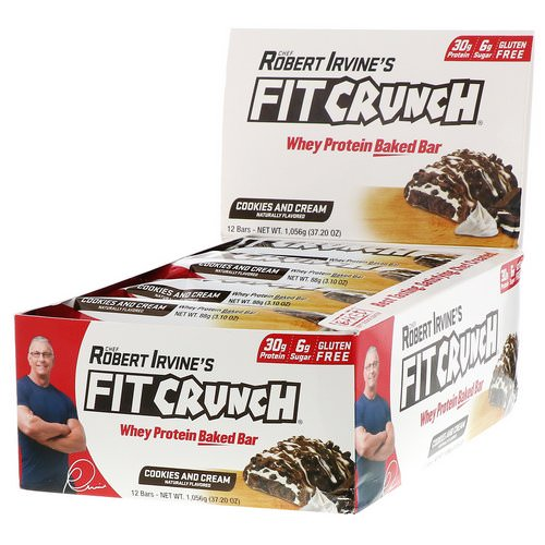 FITCRUNCH, Whey Protein Baked Bar, Cookies and Cream, 12 Bars, 3.10 oz (88 g) Each Review