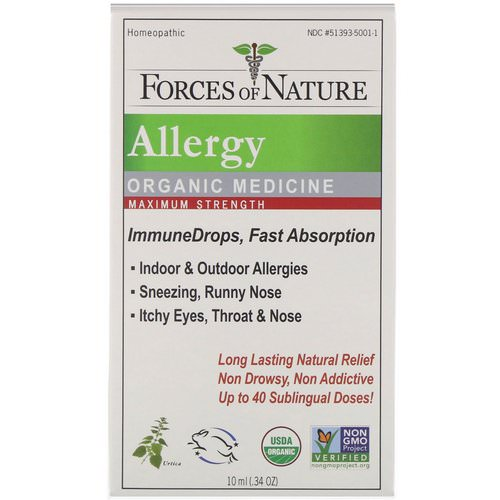Forces of Nature, Allergy, Organic Medicine, ImmuneDrops, Maximum Strength, 0.34 oz (10 ml) Review
