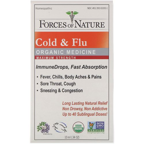 Forces of Nature, Cold & Flu, Organic Medicine, ImmuneDrops, Maximum Strength, 0.34 oz (10 ml) Review