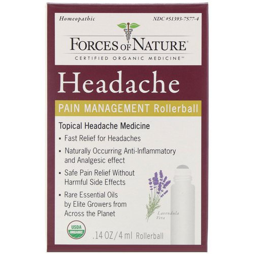 Forces of Nature, Headache, Pain Management, Rollerball, 0.14 oz (4 ml) Review
