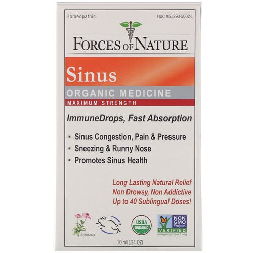 Forces of Nature, Sinus, Organic Medicine, ImmuneDrops, Maximum Strength, 0.34 oz (10 ml) Review