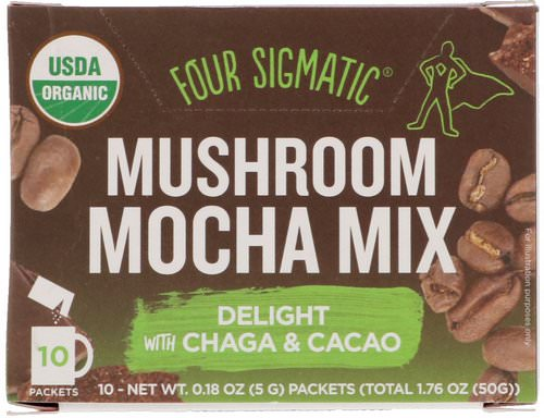 Four Sigmatic, Mushroom Mocha Mix, Sweet + Coffee, 10 Packets, 0.18 oz (5 g) Each Review
