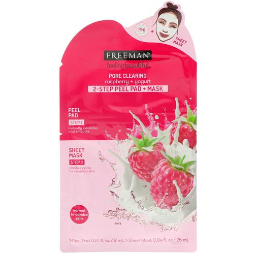 Freeman Beauty, Feeling Beautiful, 2-Step Peel Pad + Mask, Pore Clearing, Raspberry + Yogurt, 1-Peel Pad & 1-Sheet Mask Review