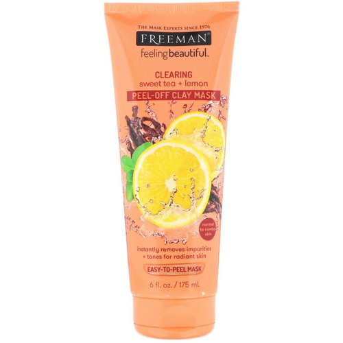Freeman Beauty, Feeling Beautiful, Clearing Peel-Off Clay Mask, Sweet Tea + Lemon, 6 fl oz (175 ml) Review